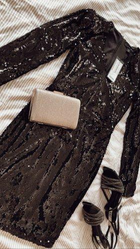 Tolles Abendkleid langärmelig mit Pailetten schwarz