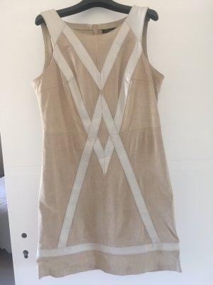 Steps Skórzana sukienka jasnobeżowy-w kolorze białej wełny