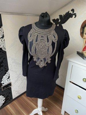 Tolles Armani Exchange Kleid Timeless schwarz mit Cordmuster & Puffärmel Gr M