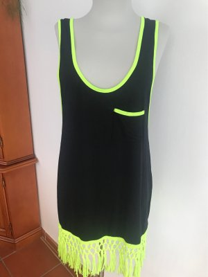 Calzedonia Fringed Dress black-neon yellow