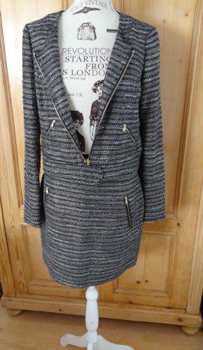 Tolles Bouclé Kostüm - Kurz-Blazer und Minirock - Gr. 38 - neu