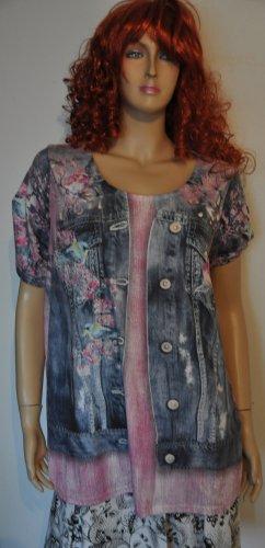 Mia Moda Lang shirt blauw-roze Lycra