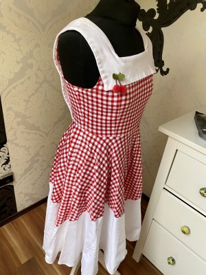 Unikat Einzelstück Robe avec jupon blanc-rouge