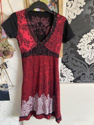 Tolles Desigual Sommerkleid Midikleid Kleid schwarz rot Gr S