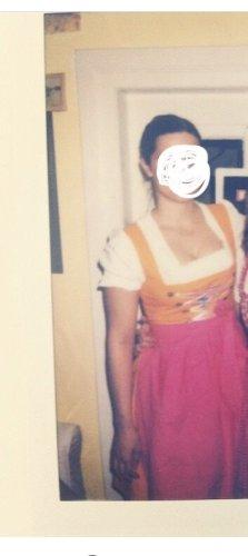 Vestido bustier magenta-naranja