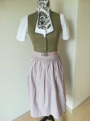 Vestido corsage rosa empolvado-verde oliva