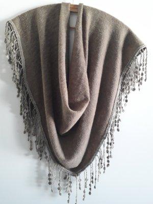 Schoudersjaal grijs-bruin-lichtbruin Wol