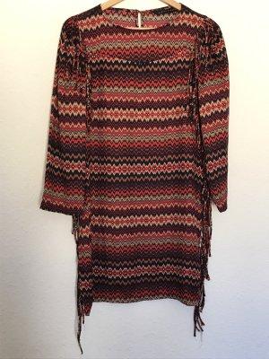 Zara Woman Fringed Dress multicolored