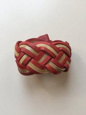 Tolles Geflochtenes Echtleder-Armband in rot-nude