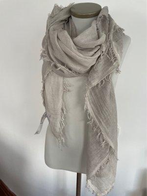 Lieblingsstück Châle au tricot gris clair-blanc cassé coton