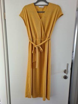 Mango Robe mi-longue brun sable-jaune