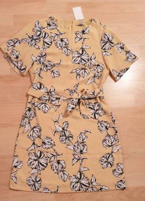 Tolles Kleid gelb schwarz weiß geblümt Gr. 36 mit Gürtel NEU!