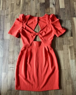 Rare london Cut Out Dress brick red-bright red