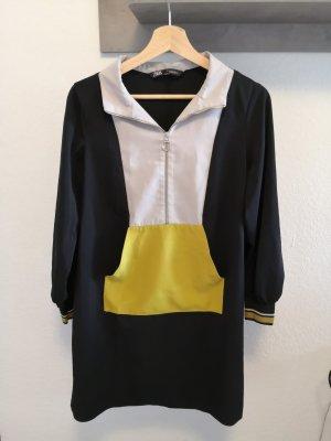 Tolles Kleid von Zara Damen M 38 schwarz gelb grau Sommer Herbst Frühling
