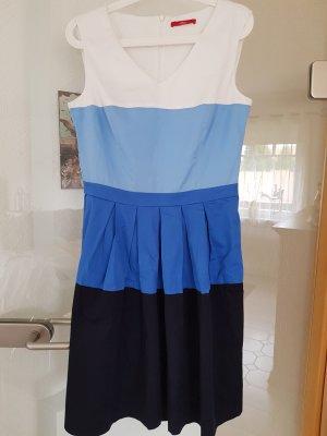 s.Oliver Midi Dress white-blue cotton