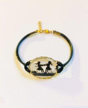 Bracelet en cuir noir-blanc