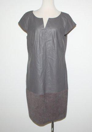 Comma Leren jurk groen-grijs Imitatie leer