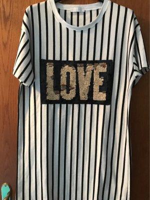 0039 Italy Long Shirt white-black cotton