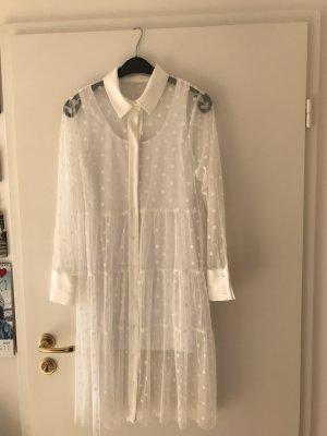 Zara Robe chemisier blanc cassé polyester