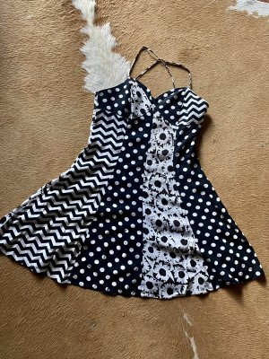 Tolles Moschino Jeans Kleid Sommerkleid schwatz weiß gepunktet Gr S/36