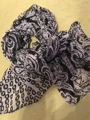 0039 Italy Summer Scarf white-black cotton