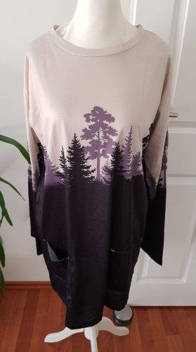 Sukienka dresowa czarny-szaro-liliowy