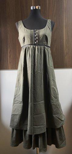 Marella Vestido estilo flounce negro-caqui