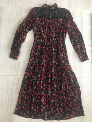 Juicy Couture Volante jurk zwart-neonrood Zijde