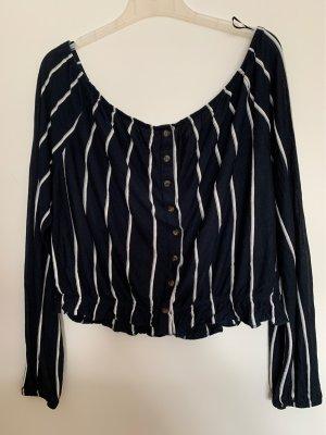 H&M Koszula typu carmen biały-ciemnoniebieski