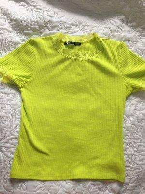 Zara Ribbed Shirt lime yellow