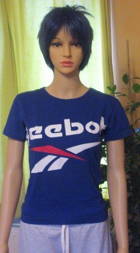 Tolles T-Shirt, Sportshirt von REEBOK mit auffälligem Logo-Druck in Blau, Größe S, DE 36/38