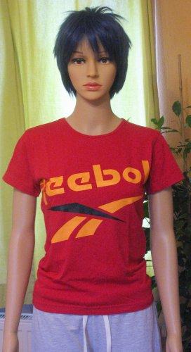 Tolles T-Shirt, Sportshirt von REEBOK mit auffälligem Logo-Druck in Rot, Größe S, DE 36/38