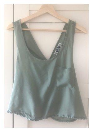 Pull & Bear Kanten topje grijs-groen-cadet blauw