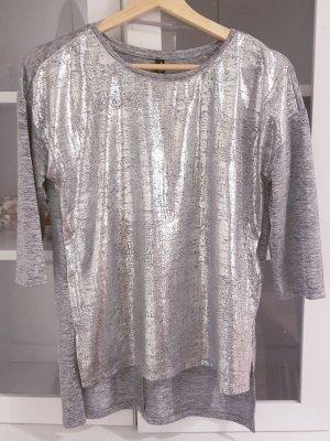 Takko Lang shirt zilver-lichtgrijs Gemengd weefsel