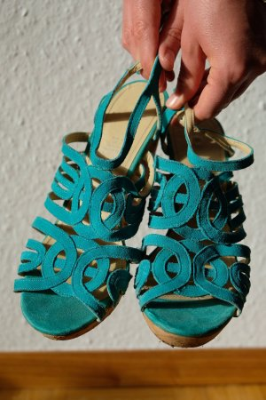 H&M Wedge Sandals beige-turquoise