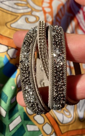Leather Bracelet grey-silver-colored leather