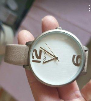 Oozoo Montre avec bracelet en cuir gris brun
