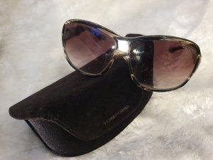 TOM FORD Braun-weiße Hutton-Sonnenbrille Gradient Brown Lens TF 19