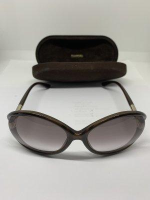 Tom Ford Gafas de sol ovaladas marrón oscuro-color oro