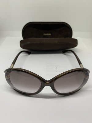 Tom Ford Oval Sunglasses dark brown-gold-colored