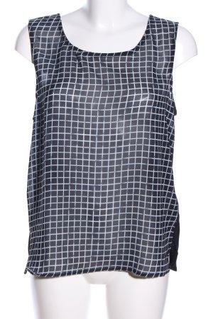 Tom Tailor ärmellose Bluse schwarz-weiß Karomuster Casual-Look