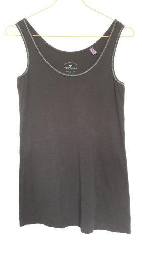 Tom Tailor Tanktop zwart-zilver Gemengd weefsel