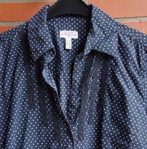 Tom Tailor Bluse Gr. 42 dunkelblau mit weißen Pünkchen