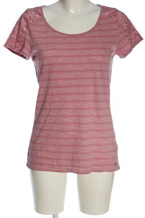 Tom Tailor Camisa tipo Carmen rosa-blanco estampado a rayas look casual