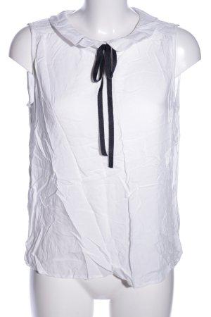 Tom Tailor Denim ärmellose Bluse weiß-schwarz Business-Look