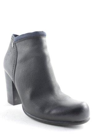 Tom Tailor Denim Ankle Boots schwarz-dunkelblau Logo-Applikation aus Metall