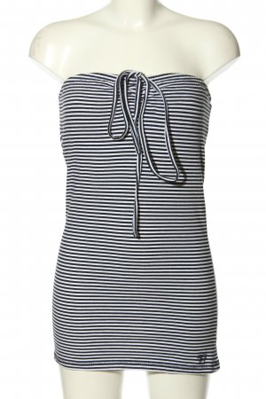 Tom Tailor Denim Bustier Top white-black striped pattern casual look
