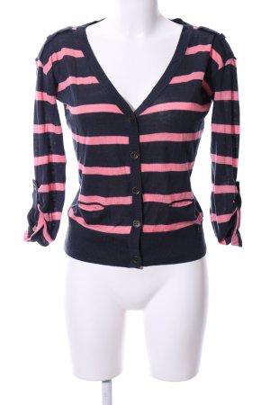 Tom Tailor Denim Cardigan schwarz-pink Streifenmuster Casual-Look