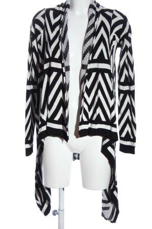 Tom Tailor Denim Kardigan czarny-biały Abstrakcyjny wzór W stylu casual