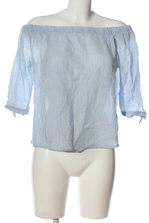 Tom Tailor Denim Carmen-Bluse weiß-blau Allover-Druck Casual-Look